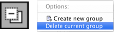 Delete Current Group button and context menu