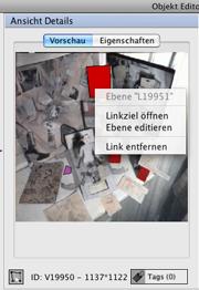 Kontextmenü im Bereich 'Ansicht Details' des Objekteditors, erreichbar mit der rechten Maustaste.
