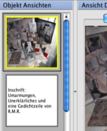 Bereich 'Objekt Ansichten' im Objekteditor mit geöffnetem Kontextmenü (unten), erreichbar mit der rechten Maustaste. Der gelbe Rahmen um eine Ansicht bedeutet, dass diese aktuell ausgewählt ist