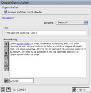 Blau unterstrichener Text zeigt an, dass diese Textpassage mit einem Element verlinkt ist. Im Linkfeld befindet sich die ID des Elements.