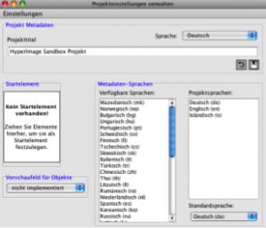 In diesem Fenster können die Projekteinstellungen vorgenommen werden, wie Titel des Projektes oder Sprachen für Metadaten.